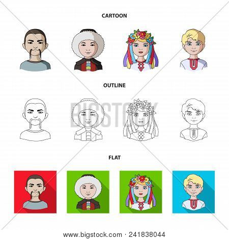 Chinese, Ukrainian, Russian, Eskimo. Human Race Set Collection Icons In Cartoon, Outline, Flat Style