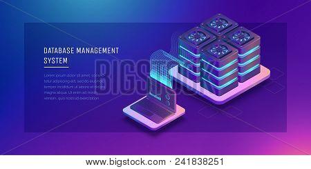Transfer Of User Data To The Server Data Flow Data Storage Server. Digital Space. Data Center. Big D
