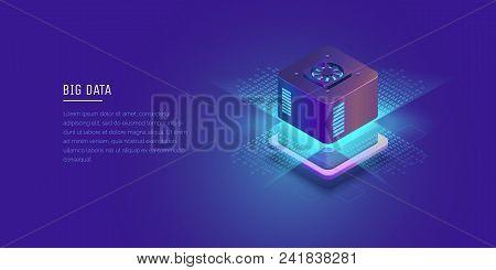 Server. Digital Space Data Storage Data Center Big Date Conceptual Illustration, Data Flow. Isometri
