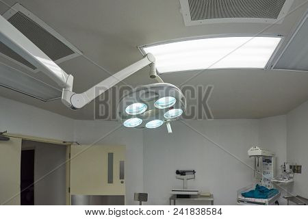 Medical Lamp In Surgery Room. Hospital Surgery Light