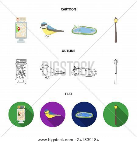 Territory Plan, Bird, Lake, Lighting Pole. Park Set Collection Icons In Cartoon, Outline, Flat Style