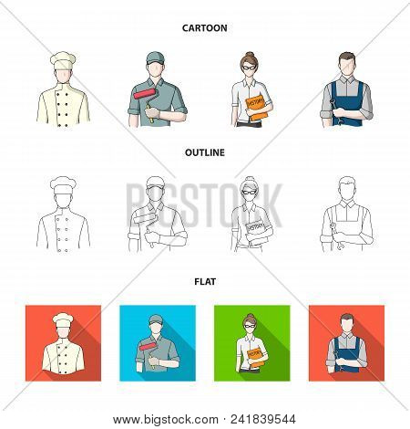 Cook, Painter, Teacher, Locksmith Mechanic.profession Set Collection Icons In Cartoon, Outline, Flat