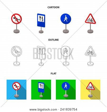 Different Types Of Road Signs Cartoon, Outline, Flat Icons In Set Collection For Design. Warning And