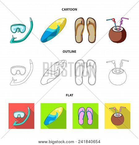 Diving, Surfing, Cocktail.summer Vacation Set Collection Icons In Cartoon, Outline, Flat Style Vecto