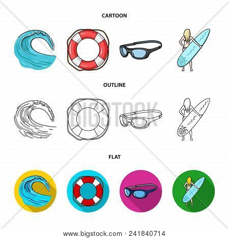 Oncoming Wave, Life Ring, Goggles, Girl Surfing. Surfing Set Collection Icons In Cartoon, Outline, F