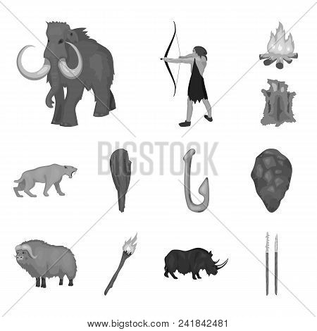 Life In The Stone Age Monochrome Icons In Set Collection For Design. Ancient People Vector Symbol St