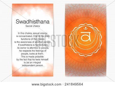 Second, Sacral Chakra - Swadhisthana. Illustration Of One Of The Seven Chakras. The Symbol Of Hindui