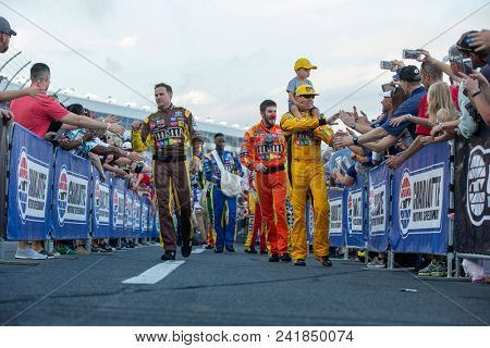 May 20, 2018 - Concord, North Carolina, USA: Kyle Busch (18) gets introduced for the Monster Energy All-Star Race at Charlotte Motor Speedway in Concord, North Carolina.