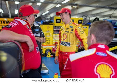 May 18, 2018 - Concord, North Carolina, USA: Joey Logano (22) waits to practice for the Monster Energy Open at Charlotte Motor Speedway in Concord, North Carolina.