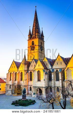 Sibiu, Romania. Evangelical Cathedral In The Center Of Sibiu, Transylvania, European Capital Of Cult