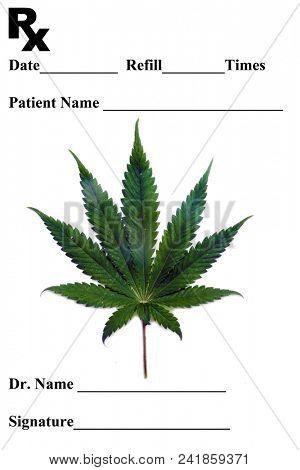 Prescription pad. Medical Marijuana Prescription Pad. Marijuana Leaf on a Prescription pad for medical marijuana