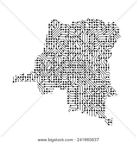 Abstract Schematic Map Of Democratic Republic Congo From The Black Printed Board, Chip And Radio Com