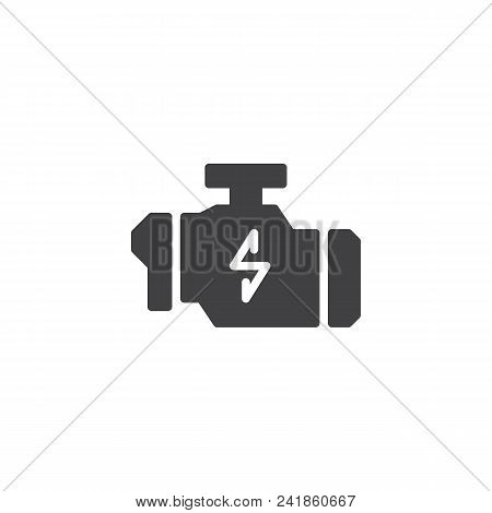 Check Engine Warning Sign Vector Icon. Filled Flat Sign For Mobile Concept And Web Design. Car Engin