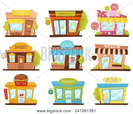 Set Of Small City Stores In Cartoon Style. Candy Shop, Pharmacy, Fast Food Restaurant, Cafe. Facades