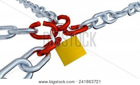 3d Illustration Of Four Gray Chains With Four Red Bended Links Locked With A Padlock