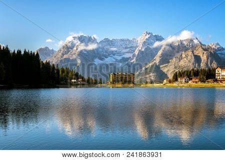 Lake Misurina With Dolomites Mountain In Italy