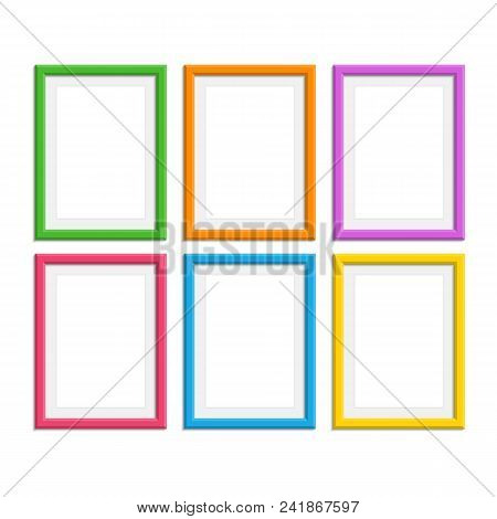 Set Of Colorful Wooden Frames. Wooden Picture Frame In Flat Style. Abstract Coloured Framework Isola