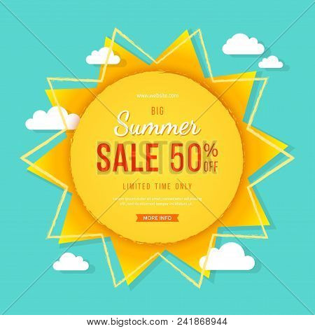 Big Summer Sale Banner. Sun With Rays, Clouds And Sign. Summer Template Poster Design For Print Or W