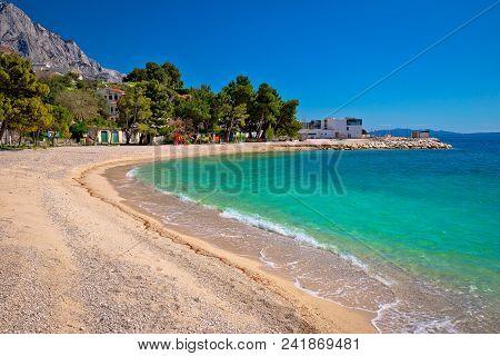 Emerald Beach In Brela Under Biokovo Mountain Cliffs View, Makarska Riviera Of Dalmatia, Croatia