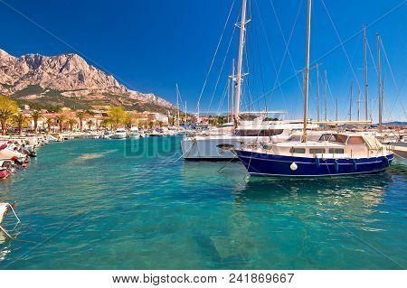 Idyllic Sailing Coast Of Baska Voda View, Town In Makarska Riviera Of Dalmatia, Croatia