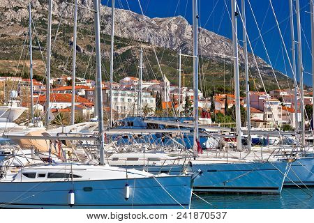 Baska Voda Waterfront Sailing Destination In Makarska Riviera, Dalmatia Region Of Croatia