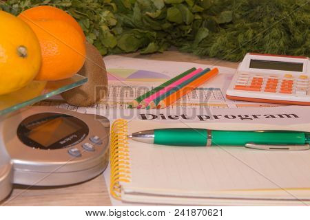 Concept Diet And Weight Loss On Wooden Table. Low-calorie Fruit Diet. Diet For Weight Loss