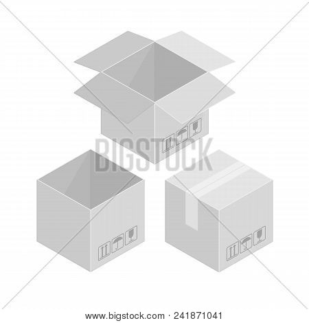 Cardboard Boxes Mockup Set. Open And Close Square Cardboard Box Collection. Isometric Boxes Isolated