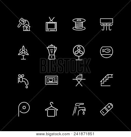 Set Of Household Line Icons. Tv, Faucet, Ironing. Domestic Life Concept. Vector Illustration Can Be