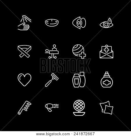 Set Of Personal And Medical Care Line Icons. Hairdressing, Eye Sight, Insurance. Self Care Concept.