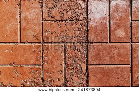 Pavement. Sidewalk Tile Background. Pavement Tile. Top View. Closeup. Old Pavement Tiles