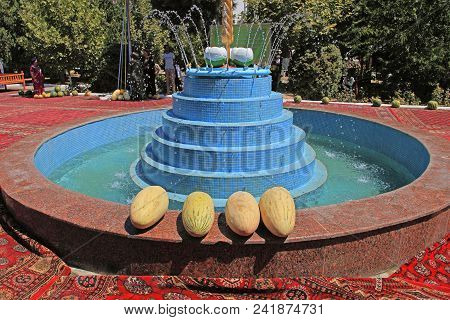 Ashgabat, Turkmenistan - August, 17 ,2017: Melon Festival In Turkmenistan. Ripe Yellow Melons Lie On