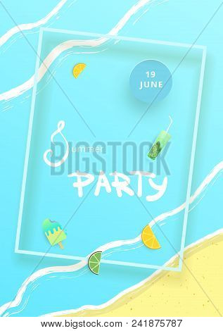 Vertical Pool Party Banner.  Template For Holiday Summer Flyer Design. Vector Illustration.