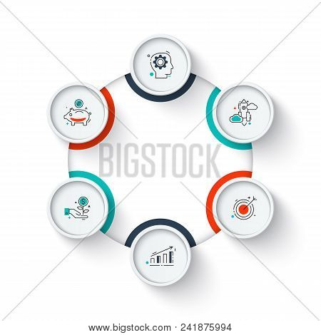Business Data Visualization. Circle Elements Of Cycle Diagram With 6 Steps, Options, Parts Or Proces