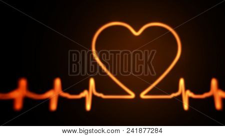 Red Glowing Heart Beat Graph with Heart Shape on Black Background. 3D Illustration.