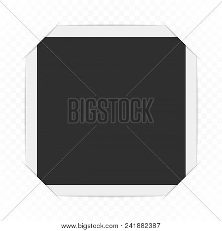 Photo Frame With Cropped Corners Isolated On Transparent Background. Vector Blank Photo Framework Wi
