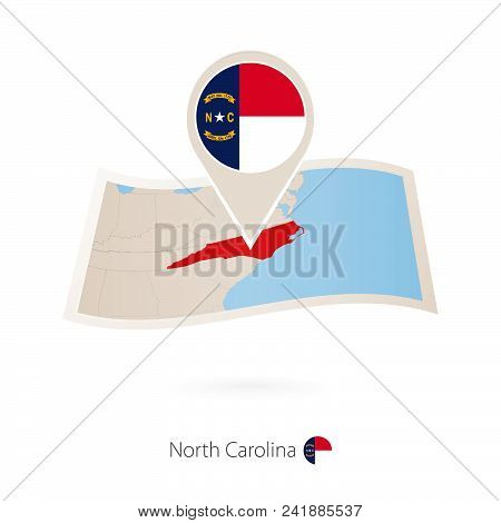 Folded Paper Map Of North Carolina U.s. State With Flag Pin Of North Carolina. Vector Illustration