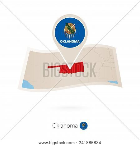 Folded Paper Map Of Oklahoma U.s. State With Flag Pin Of Oklahoma. Vector Illustration