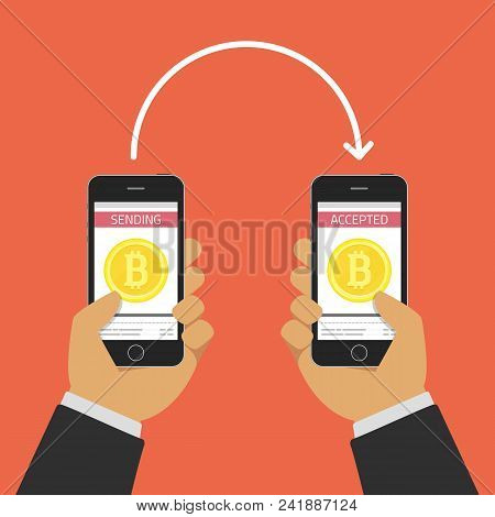 Vector Illustration Of Online Buy Bitcoin Or Another Cryptocurrency. Smartphones With Golden Bitcoin