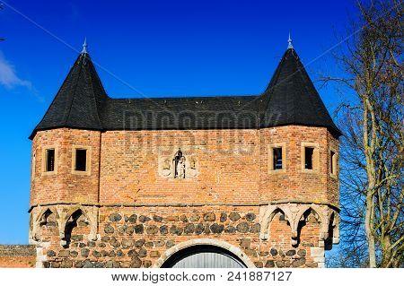 Zons, South Gate in Dormagen-Zons, Niederrhein, North Rhine-Westphalia poster