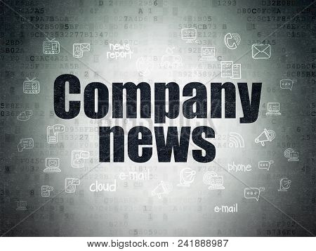 News Concept: Painted Black Text Company News On Digital Data Paper Background With  Hand Drawn News