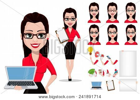 Sexy Secretary, Cartoon Character Creation Set, Pack Of Body Parts, Emotions And Things. Beautiful O