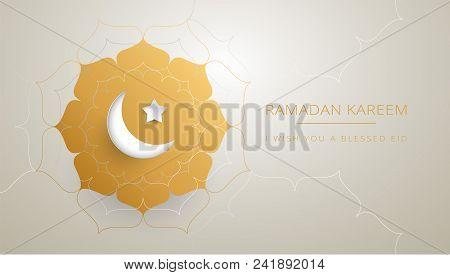 Ramadan Kareem Gold Greeting Card Vector Design