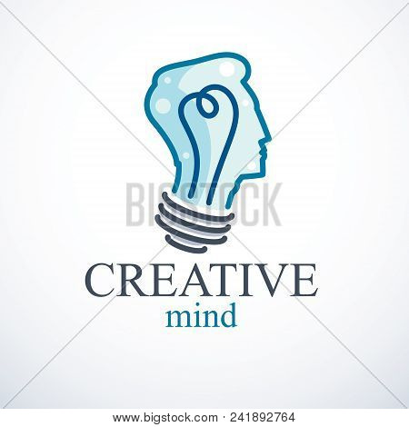 Creative Brain Concept, Intelligent Person Vector Logo. Light Bulb In A Shape Of Man Head Profile. B