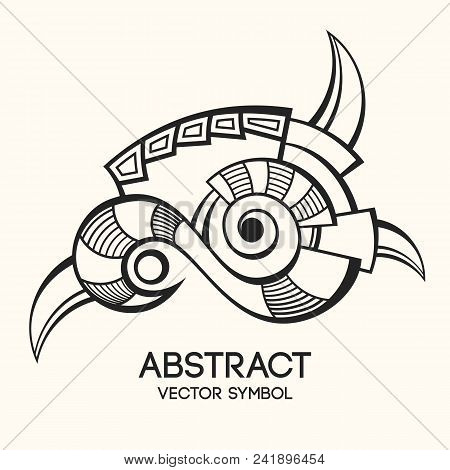 Abstract geometric symbol. Concept of imagination, magic, alchemy, religion, philosophy, spirituality, occultism, creativity. Linear logo and spiritual design. Vector illustration. poster