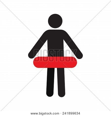 Person With Lifebuoy Silhouette Icon. Life Donut, Lifebelt. Isolated Vector Illustration