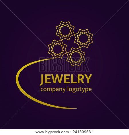 Jewelry Logo Design. Gold Ring Logotype. Luxury Vector Icon In Arabic Style.elegant