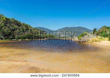Tidal River, Australia - January 28, 2018: The Brackish Waters Of Tidal River Run Into The Sea At Ti