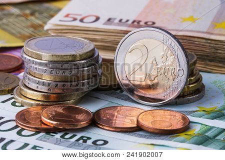 Euro Coins. Euro Money. Euro Cash Background. Euro Money Banknotes.