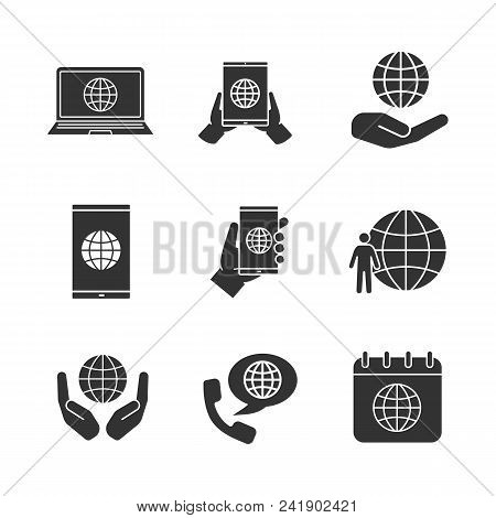 Worldwide Glyph Icons Set. Tablet Pc Internet, Smartphone And Laptop, Planet In Hands, Earth Populat
