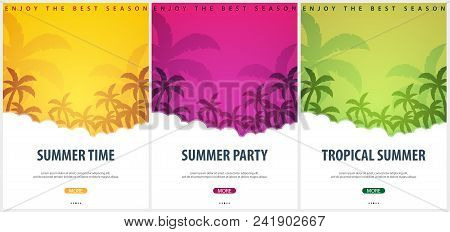 Summer Tropical Backgrounds Set With Palms. Summer Placard Poster Flyer Invitation Card. Summer Time